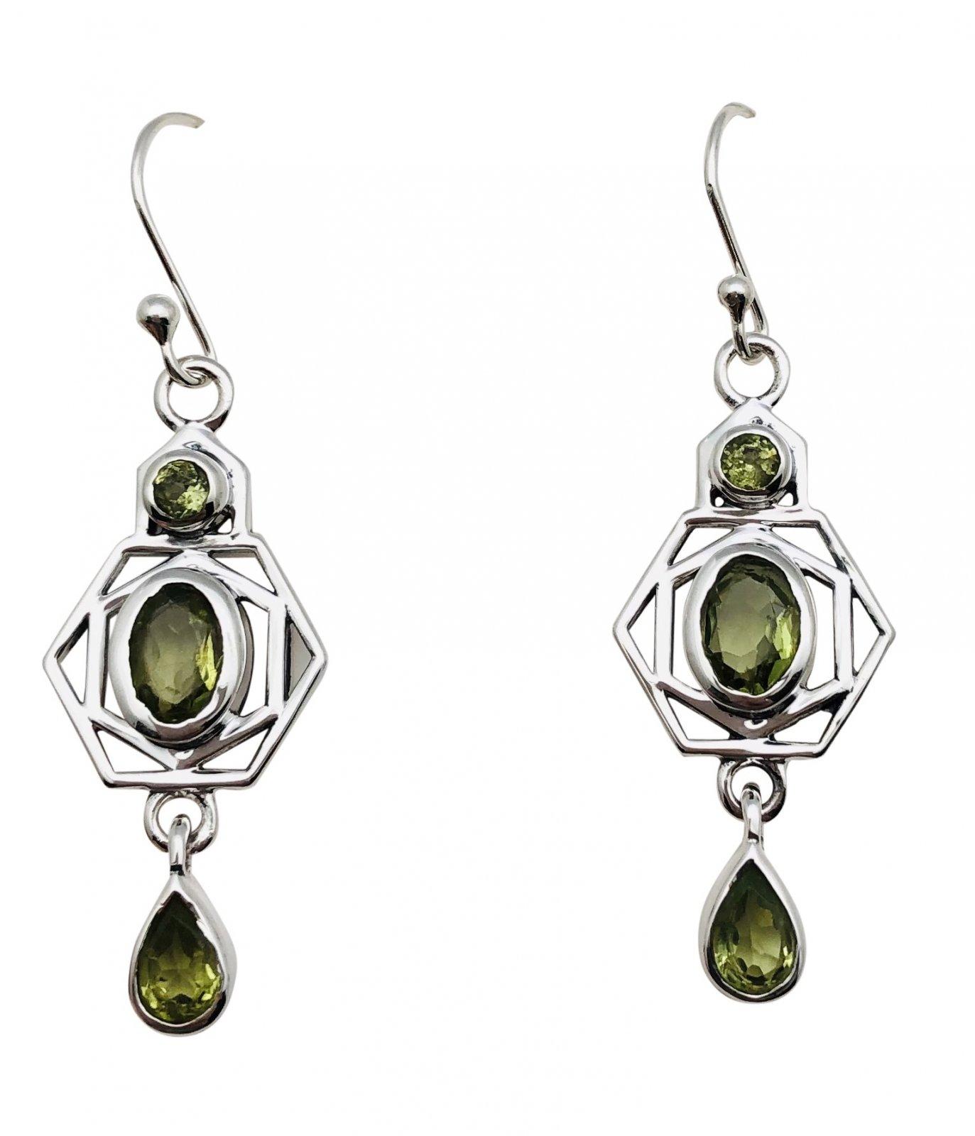 Ear > Peridot Oval & Round Drops Dangle Earring