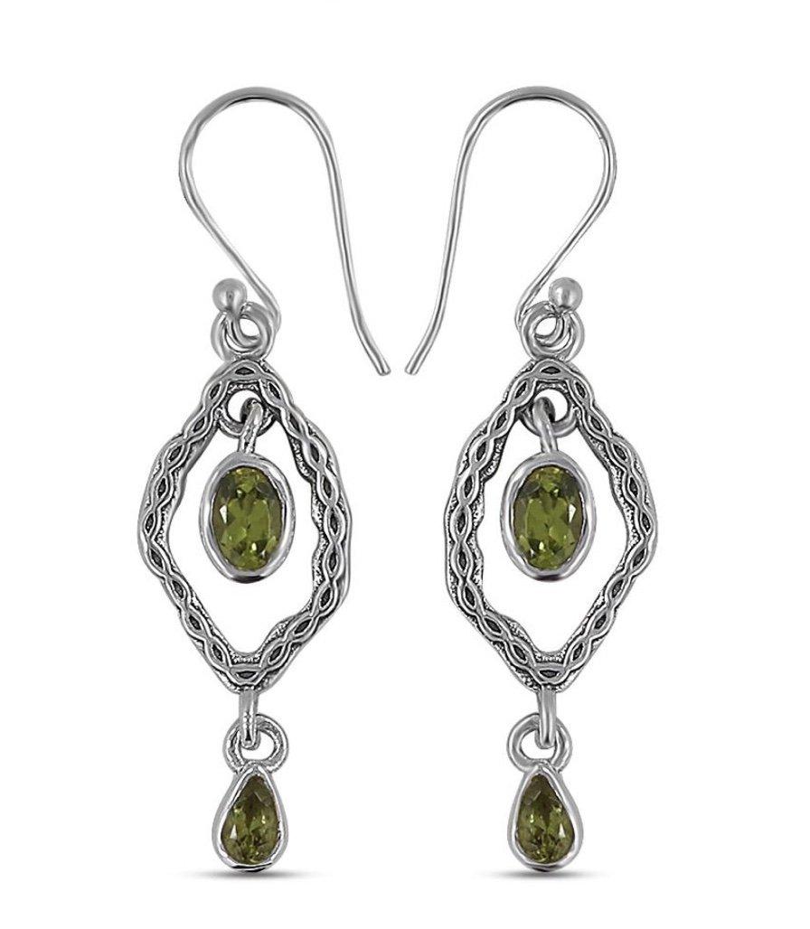 Ear > Peridot Oval Drops Dangle Earring