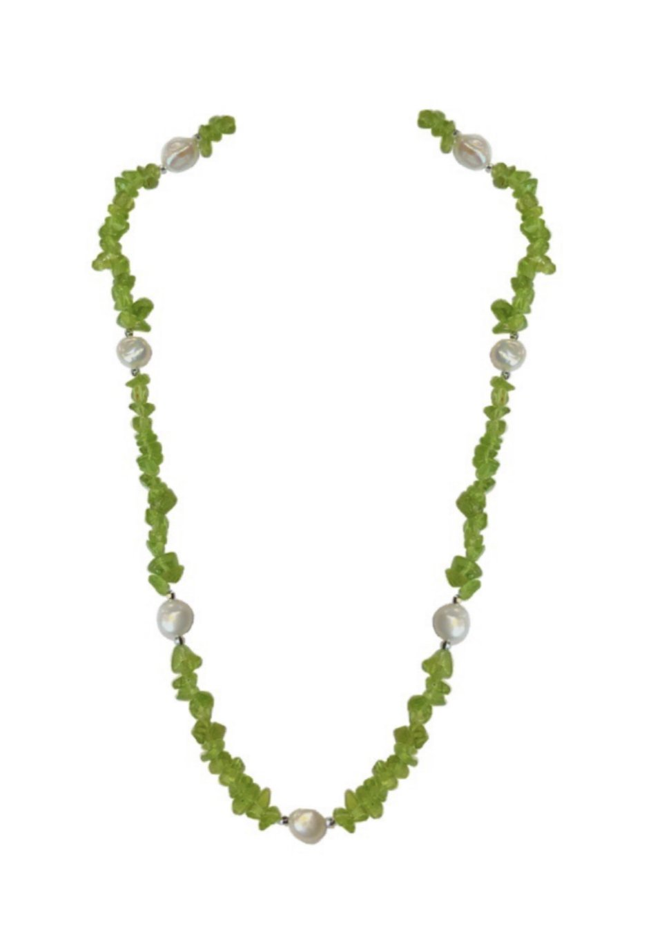 """Peridot Nugget Chip with Potato Shape Pearls Long Necklace (36"""")"""