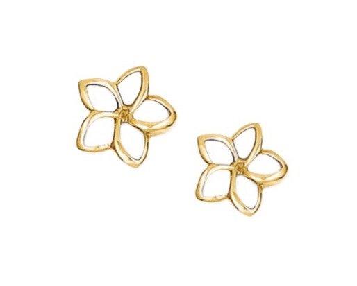 Gold Ear > Plumeria Post Earring (7mm Cut out Open style)