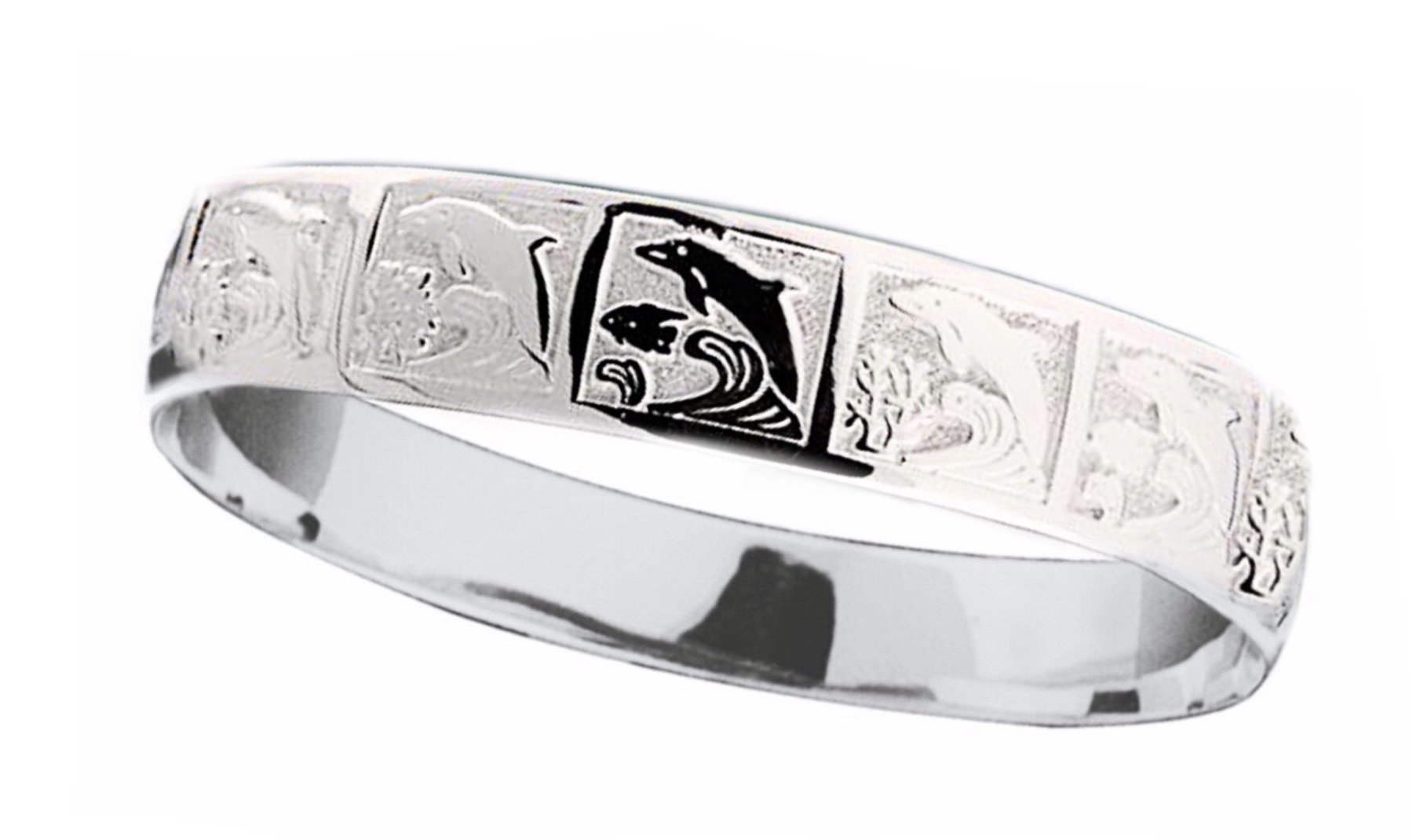 Hawaiian Bangle Bracelet   </p> Dolphin with Coral & Fish  <p>(Widths Available: 10mm - 18mm)