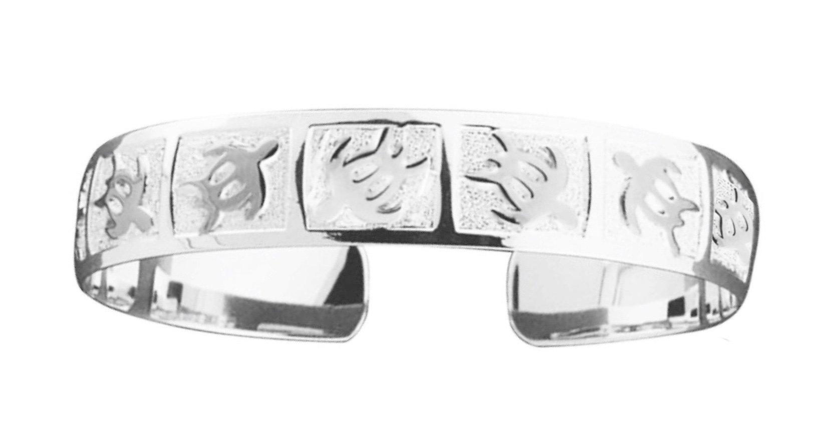 Hawaiian Cuff Bracelet   </p> Petroglyph Turtle (Honu)  <p>(Widths Available: 8mm - 18mm)