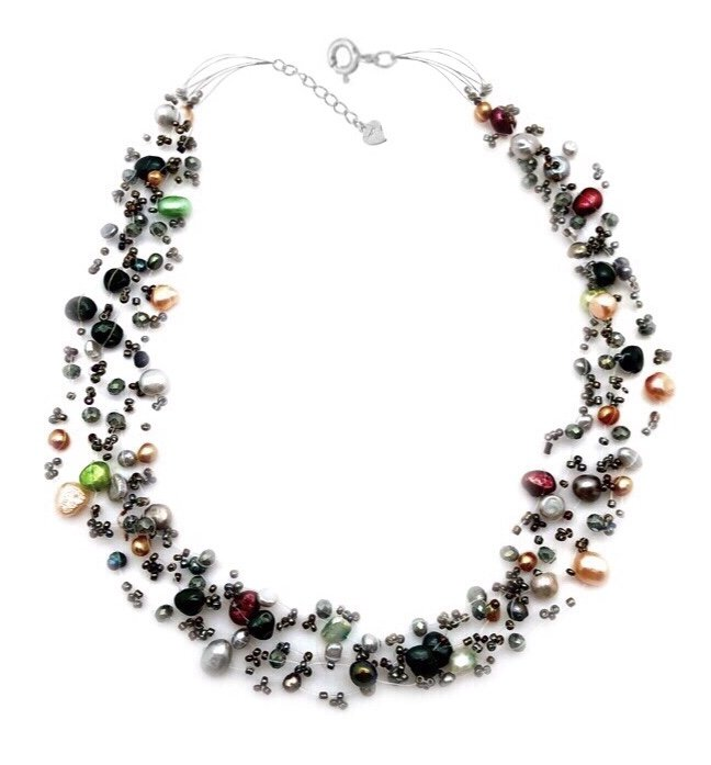 Pearl Floating Illusion Multi Color Necklace
