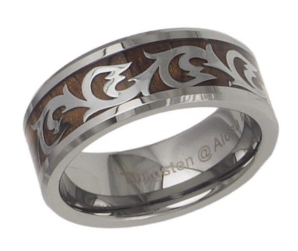 Koa Wood Scroll Tungsten Ring (8mm)