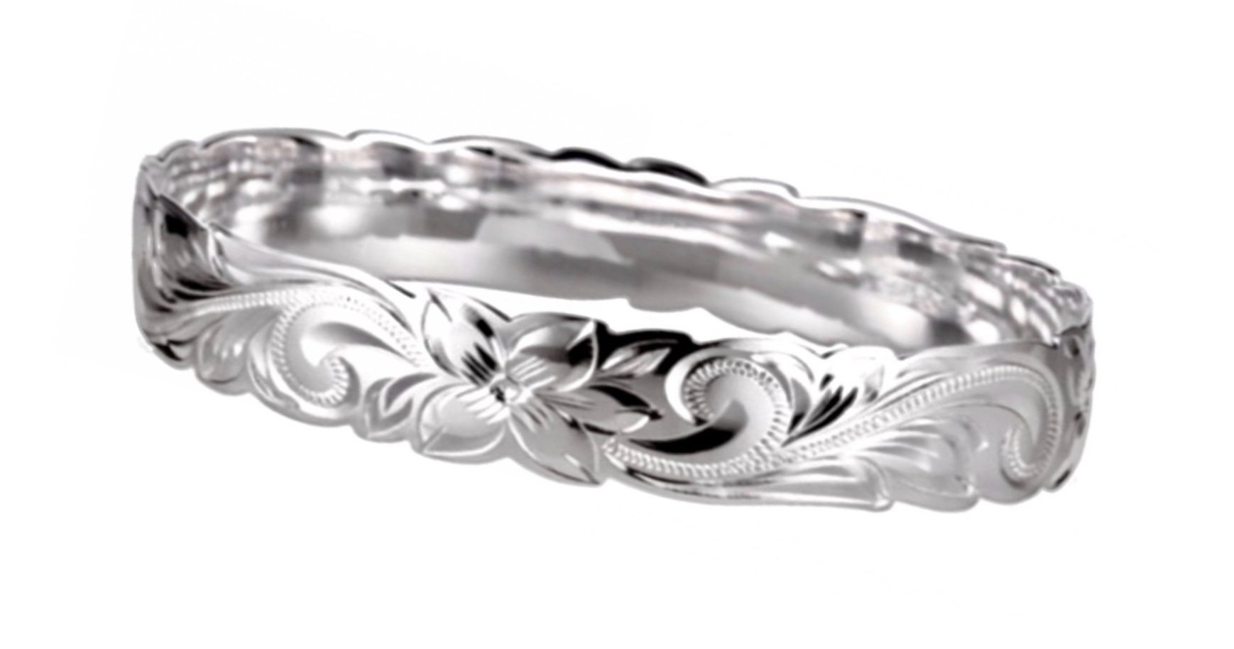 Hawaiian Bangle Bracelet   </p> Plumeria Flower Queen Scroll  <p>(Widths Available: 4mm - 18mm)