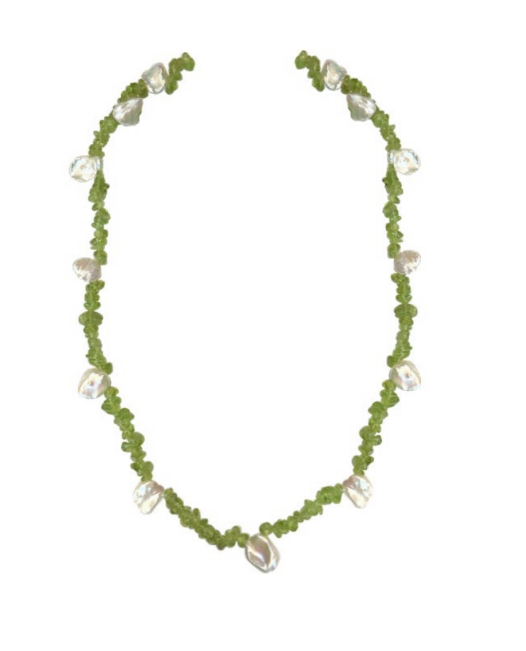 """Peridot Nugget Chip with Keshi Pearls Long Necklace (36"""")"""