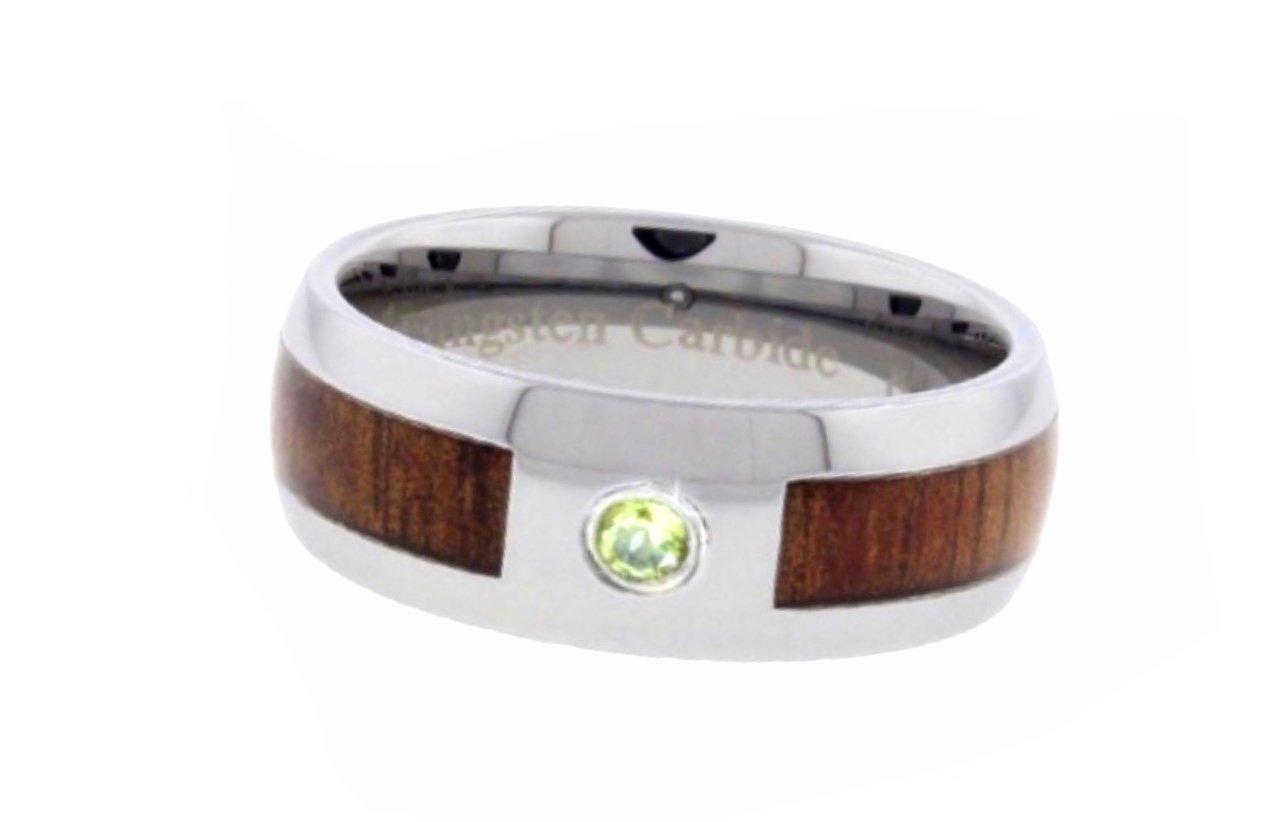 Koa Wood with Peridot (Olivine) Tungsten Ring