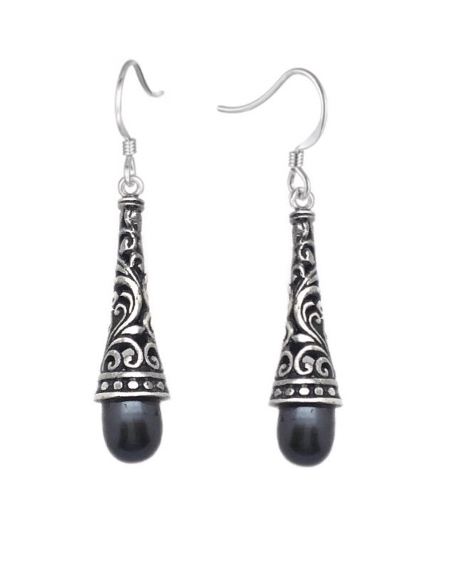 Ear > Pearl Filigree Dangle Earring - Black