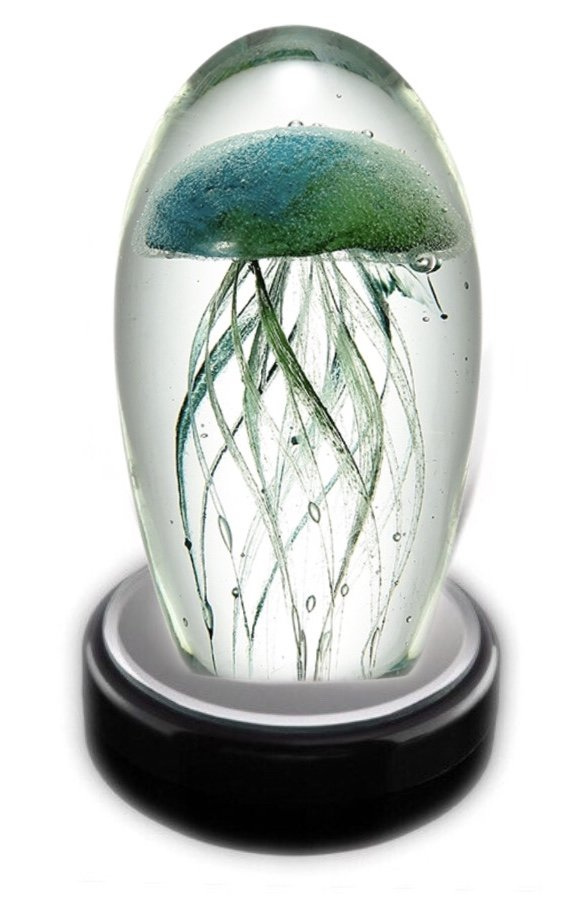 Statue > Jellyfish Glass with LED light box (Blue & Green)