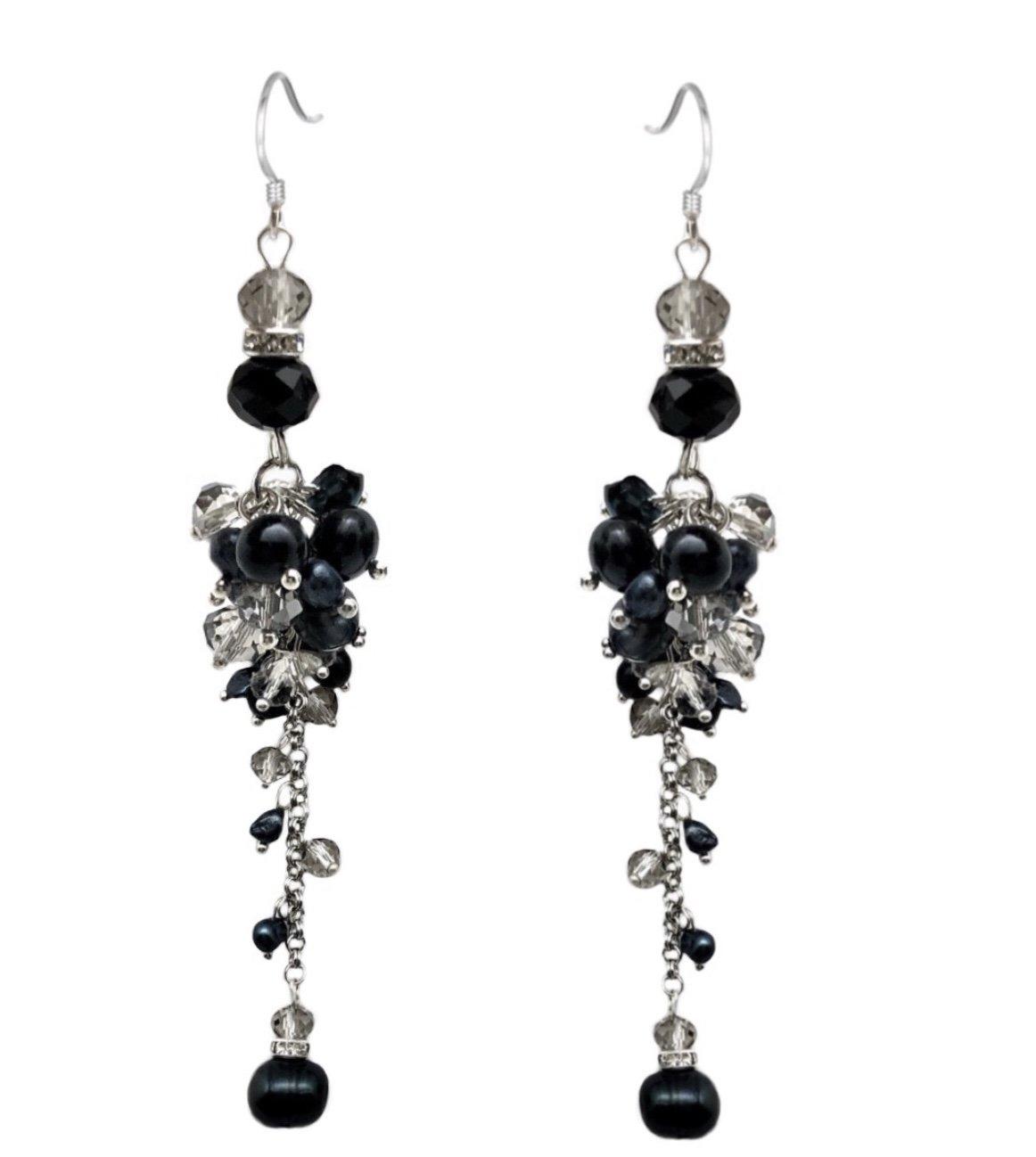 Ear > Pearl Dangle Chandelier Earring - Black