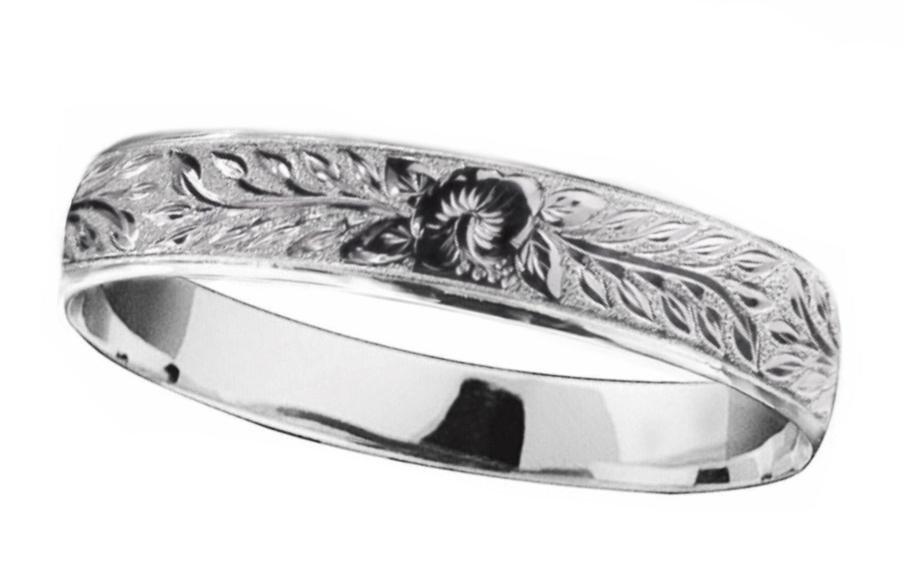Hawaiian Bangle Bracelet   </p> Hibiscus Flowers with Maile Leaf <p>(Widths Available: 10mm - 18mm)