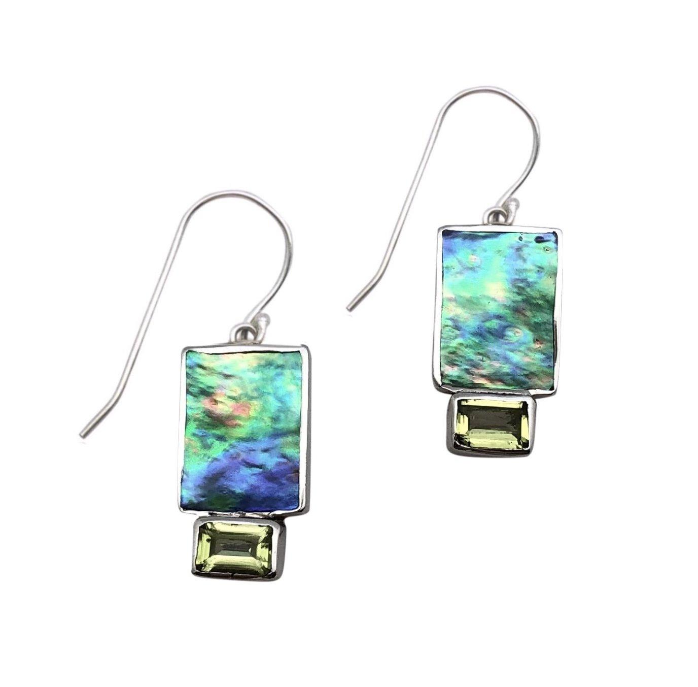 Ear > Peridot Emerald cut stone on Paua Abalone Shell Dangle Earring
