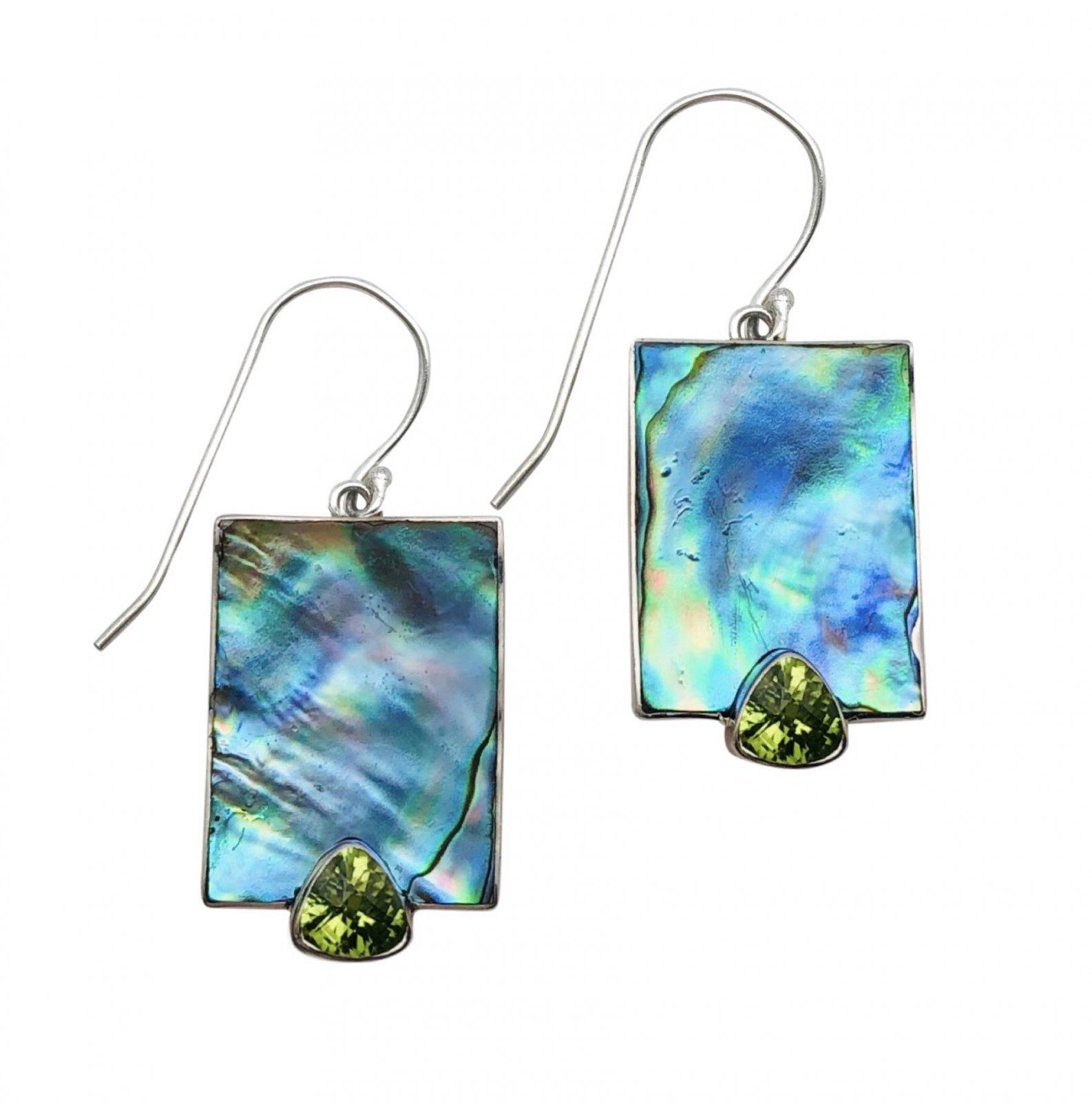 Ear > Peridot Trillion cut stone Abalone Paua Shell Dangle Earring