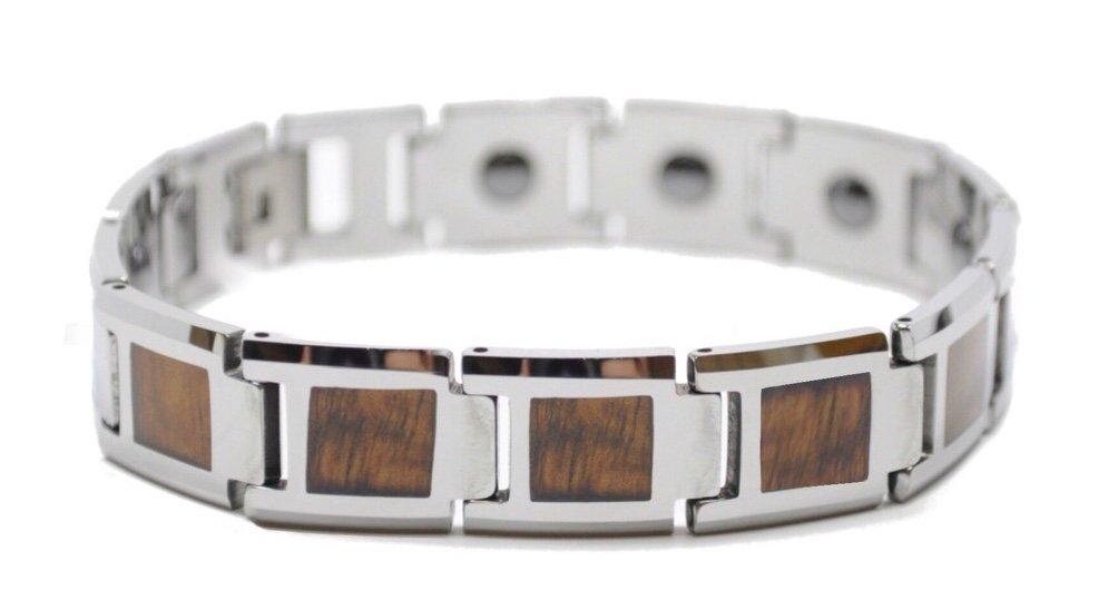 Koa Wood Link Tungsten Bracelet (14mm Wide)
