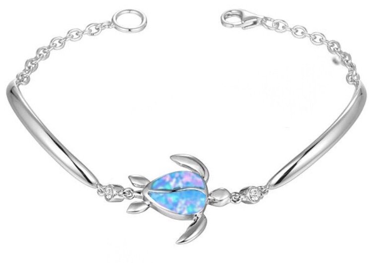 Brac > Opal Turtle with White Topaz Bracelet