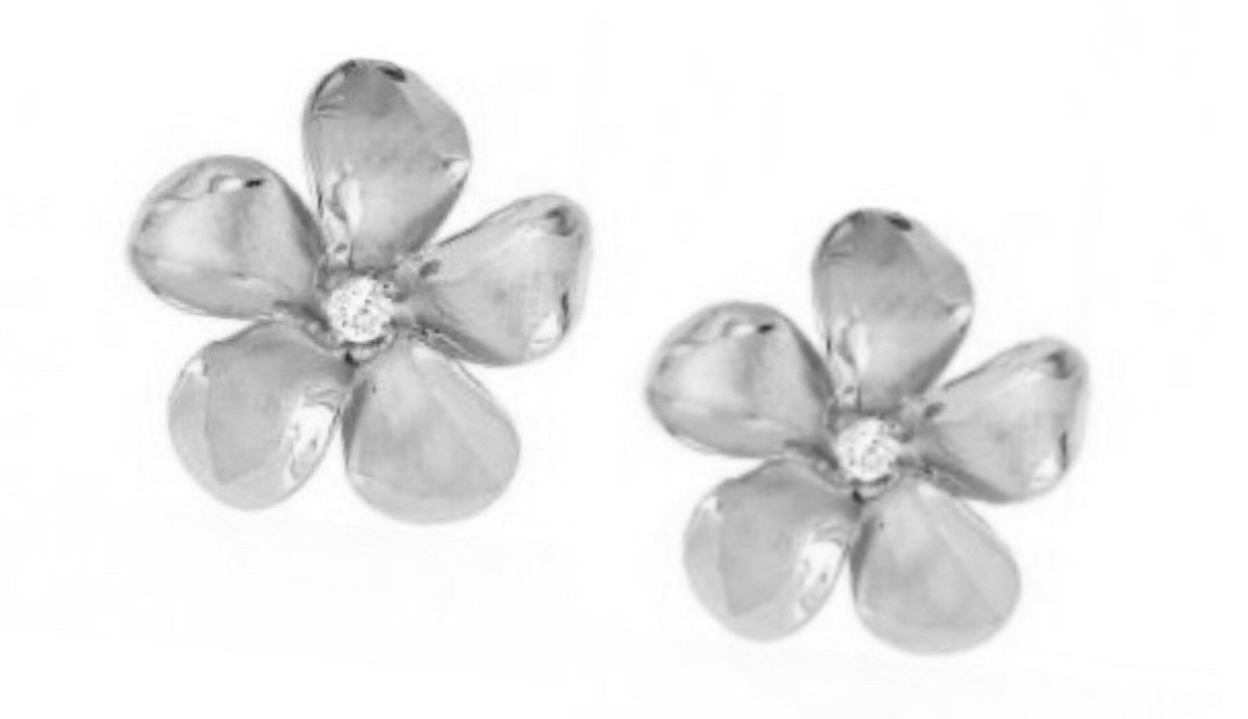 Gold Ear > Plumeria Post Earring (8mm - White Gold)