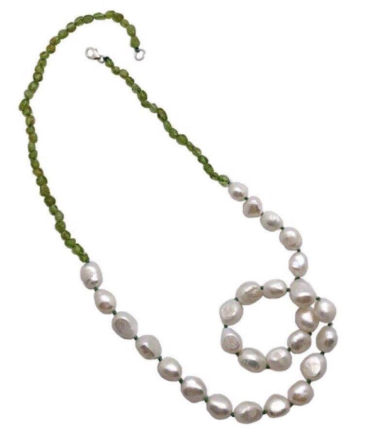 Pearl Baroque w/Peridot Necklace