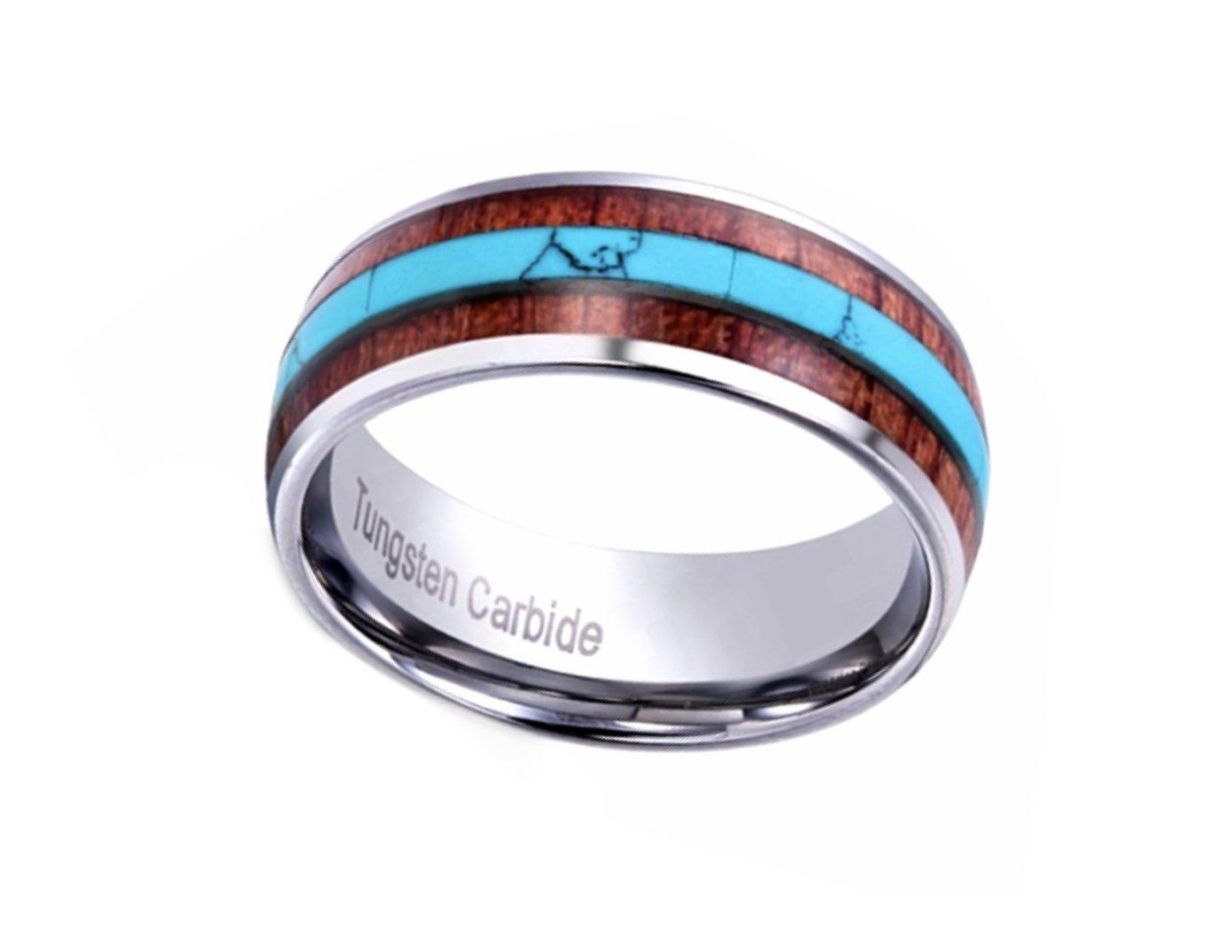 Turquoise & Koa Wood Ring