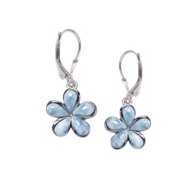 Ear > Larimar Plumeria Flower Dangle Earring