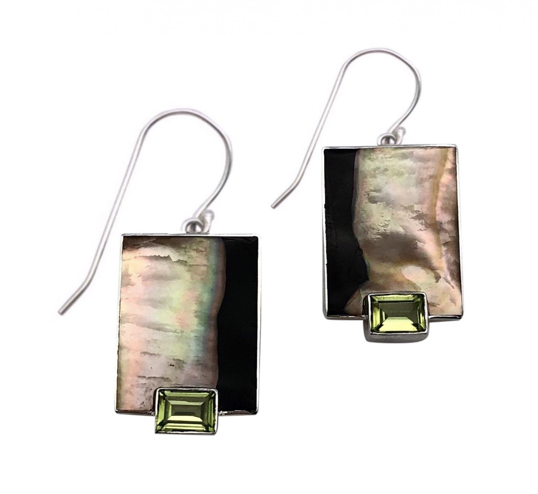 Ear > Peridot Emerald cut stone on Black Lipped Pearl Oyster Dangle Earring