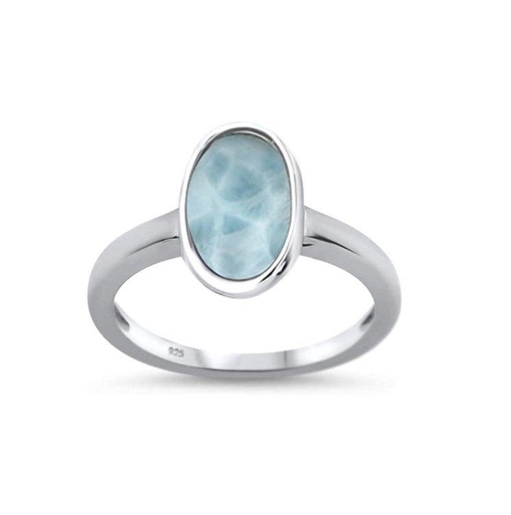 Larimar Oval Petite Ring
