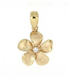 Gold Pend > Plumeria Pendant (8mm - Yellow Gold)