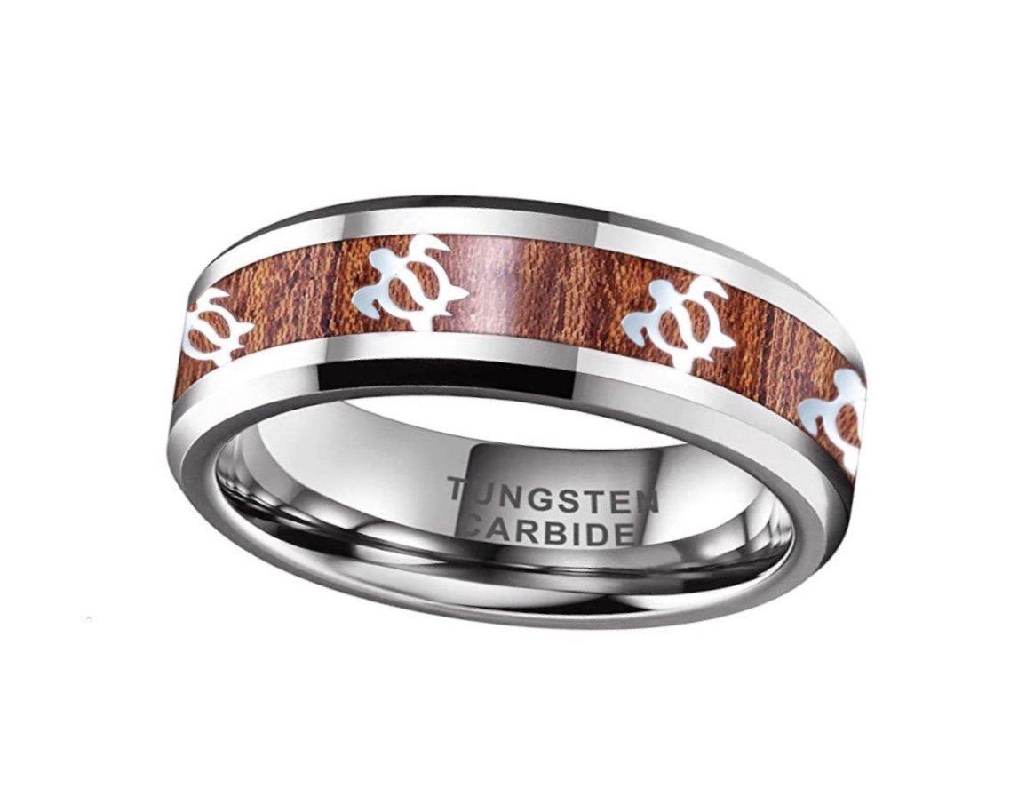 Koa Wood with Turtles Tungsten Ring