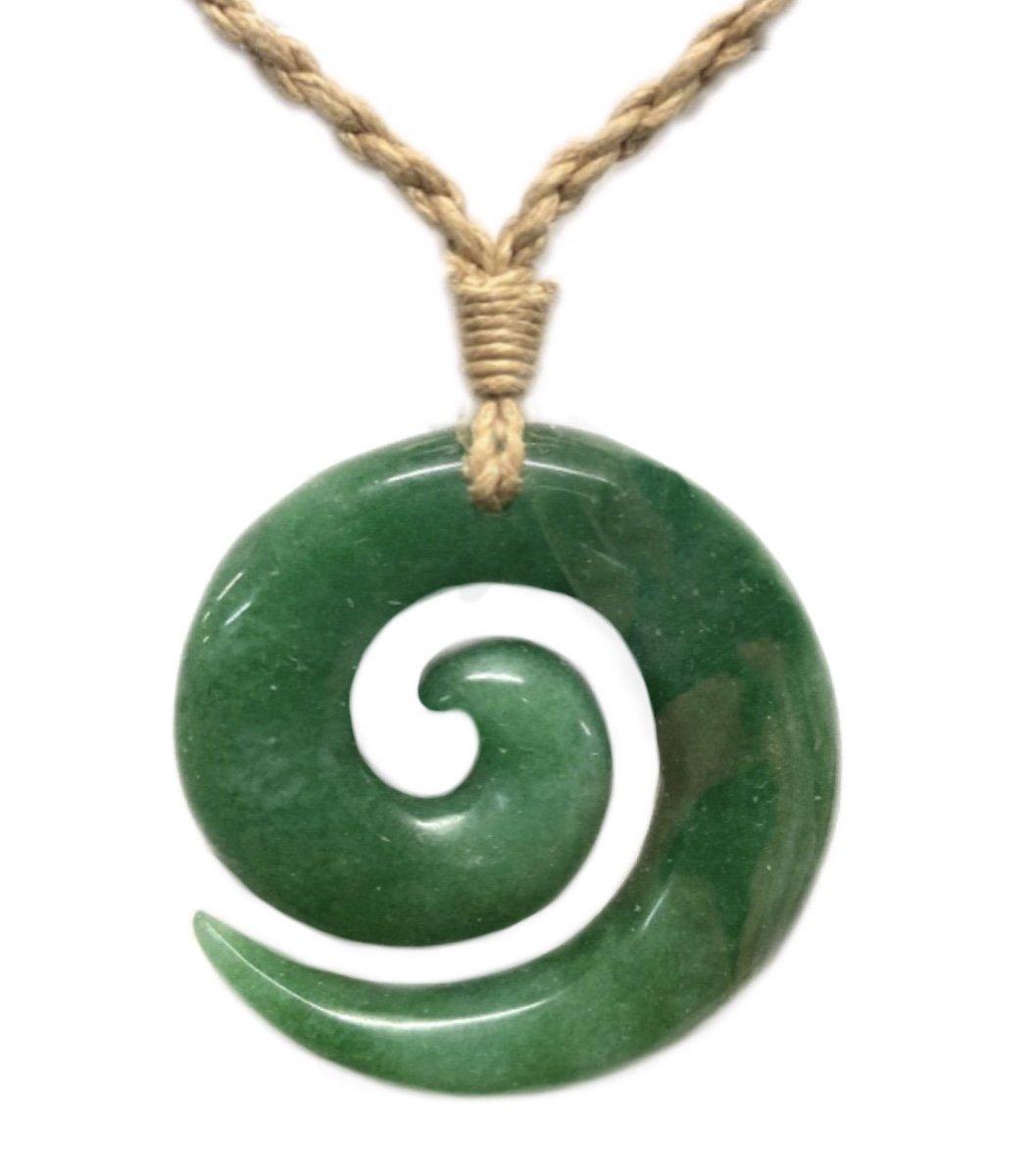 Fashion > Hawaiian Fish Hook Swirl Jade Necklace