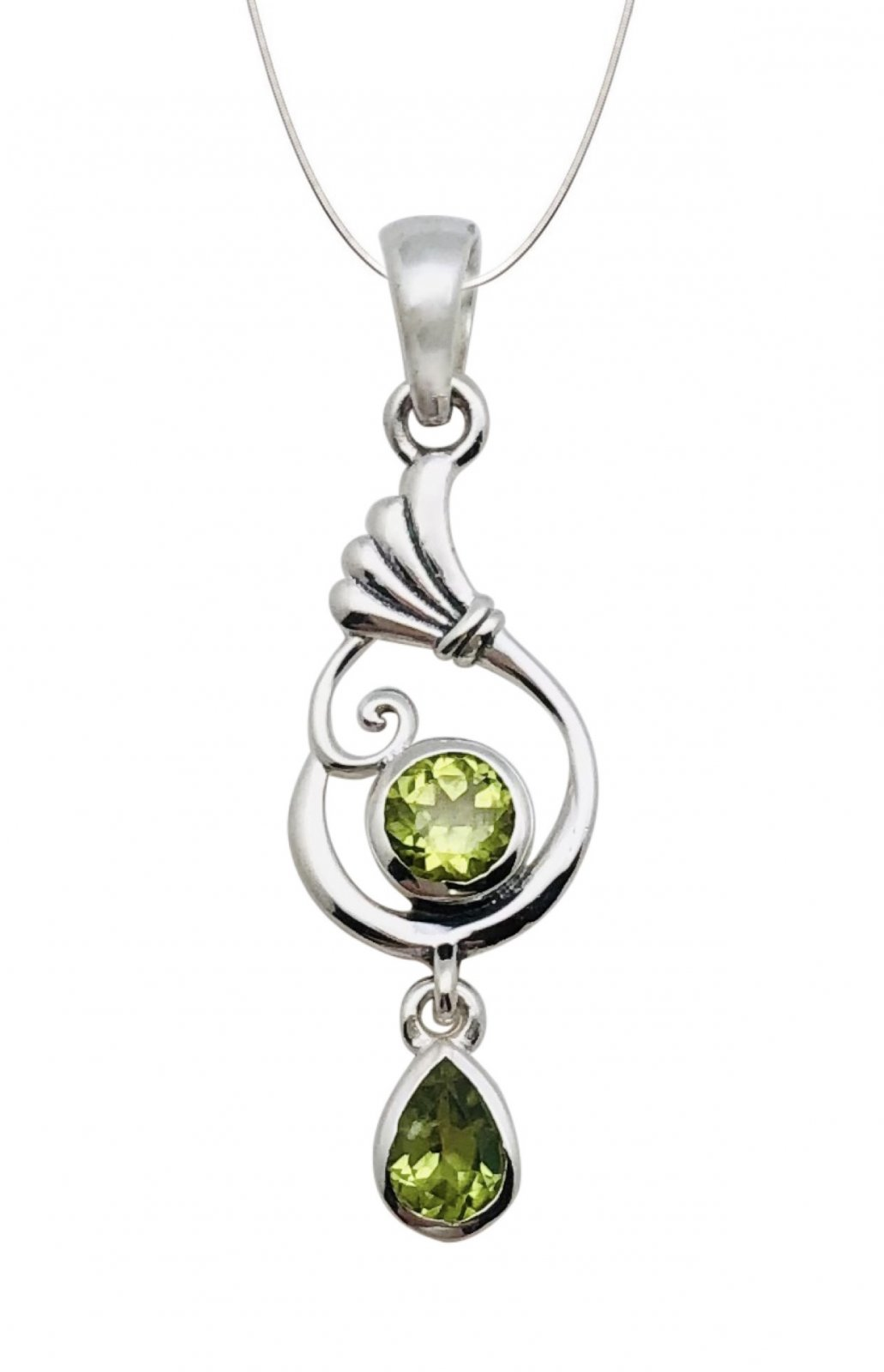 Peridot Round & Tear Stone Shape Necklace (with Chain)