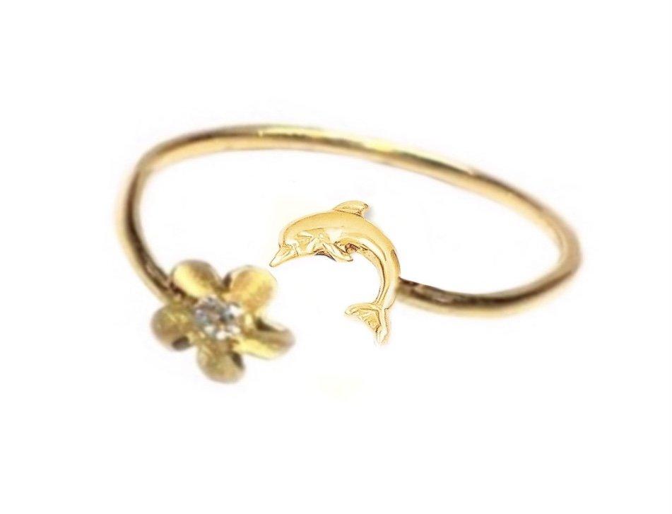 Ring > Plumeria Flower & Dolphin Ring / Toe Ring - Gold