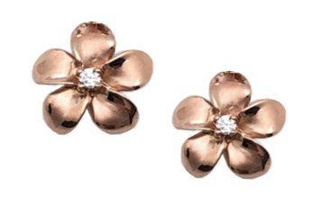 Gold Ear > Plumeria Post Earring (8mm - Rose Gold)