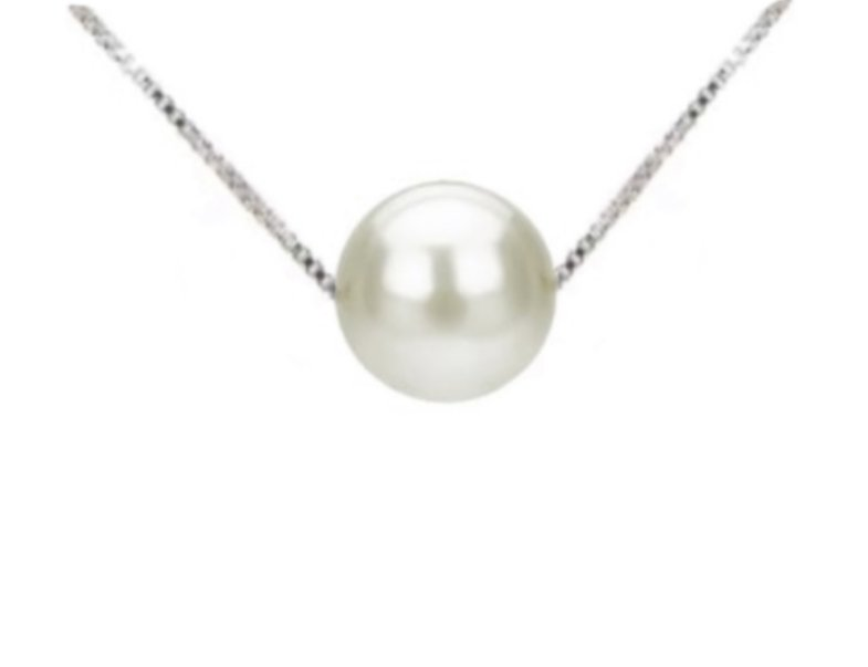 Pearl Floating on Chain Necklace (White)