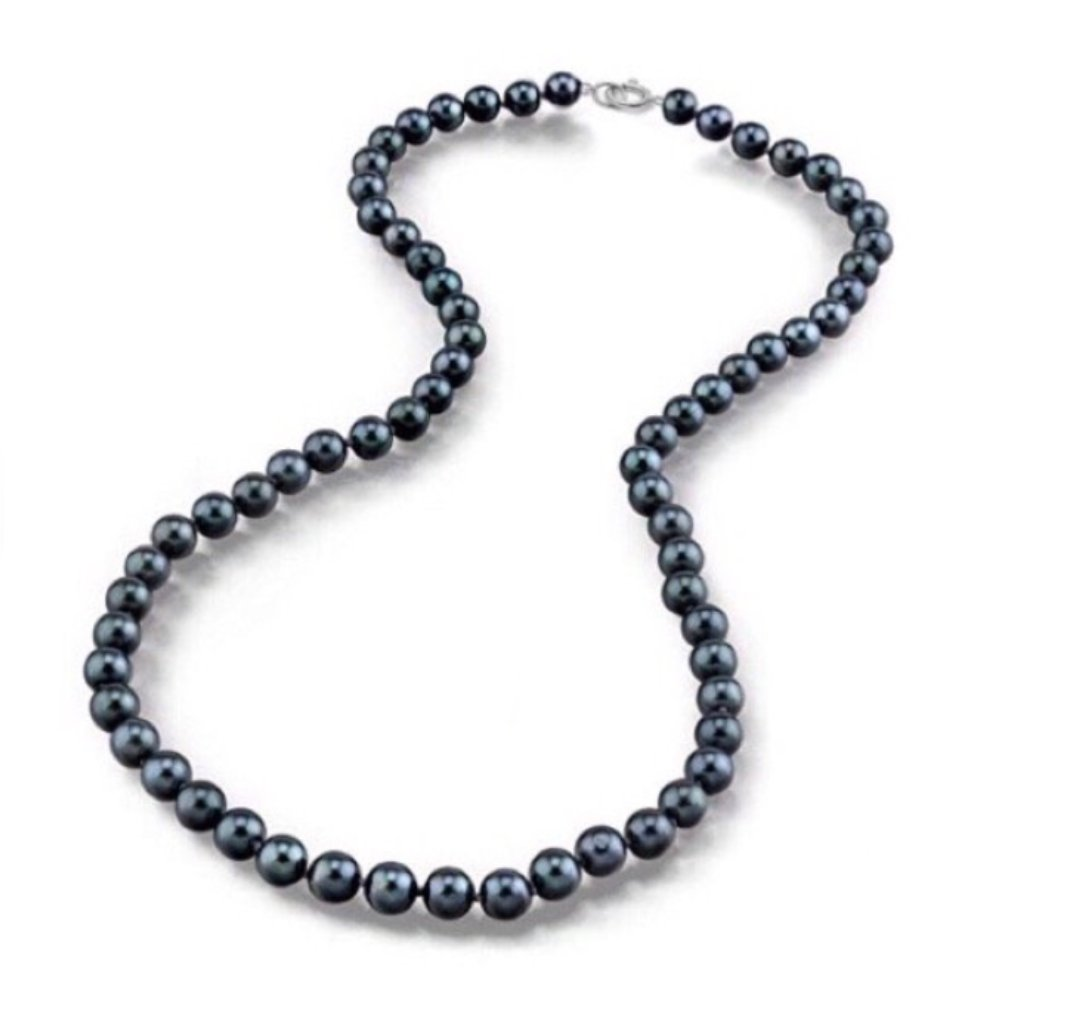 """Pearl Black Necklace (8mm - 22"""")"""