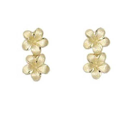 Gold Ear > Plumeria Double flower Post Earring