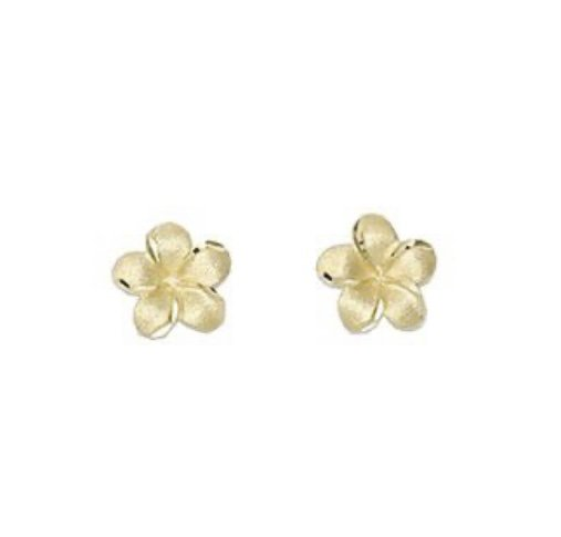 Gold Ear > Plumeria Flower Post Earrings (7mm)