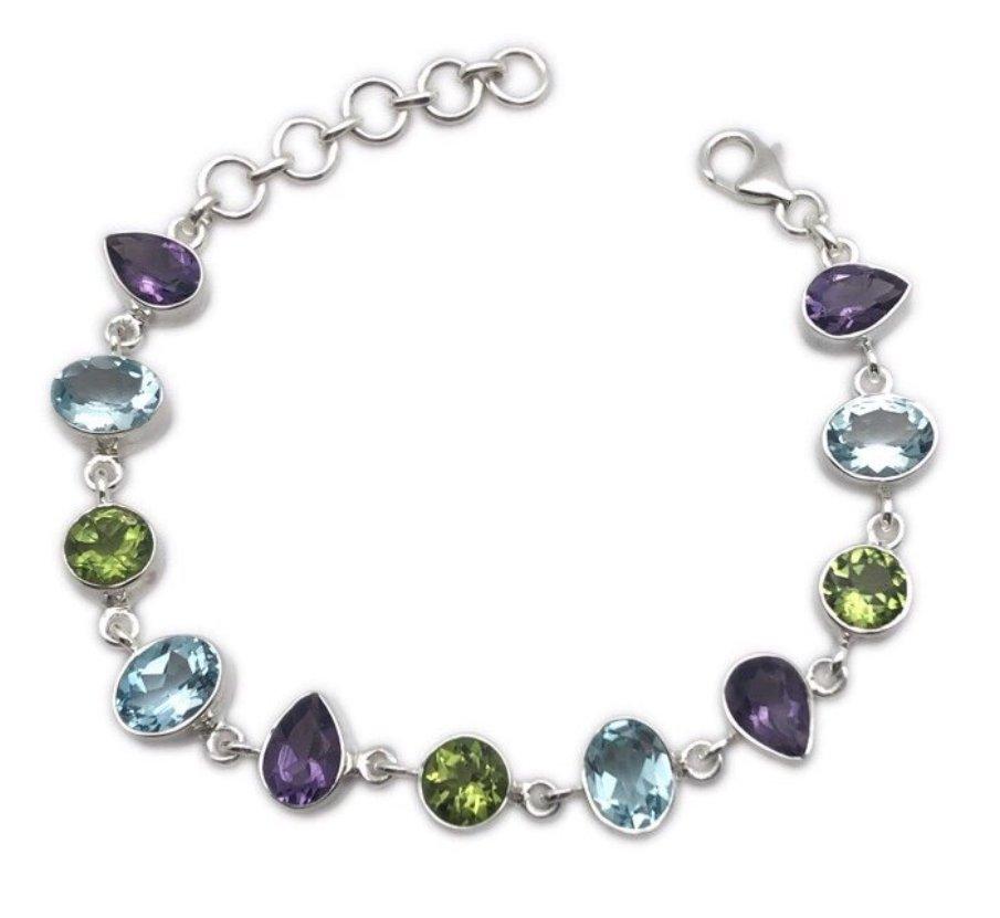Peridot, Blue Topaz & Amethyst Bracelet