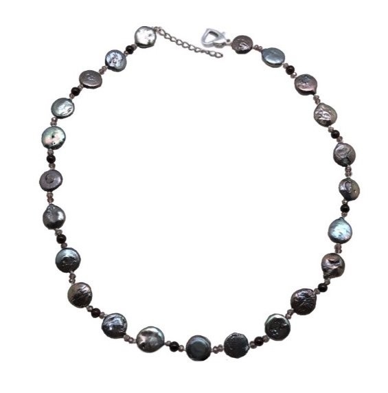 Pearl Coin with Crystals Necklace - Black (18 length)