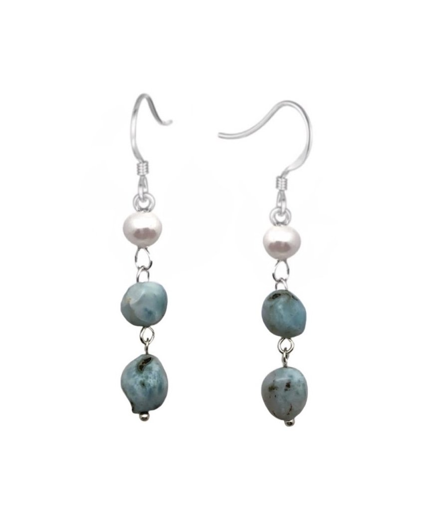 Ear > Larimar with Pearl Dangle Earrings