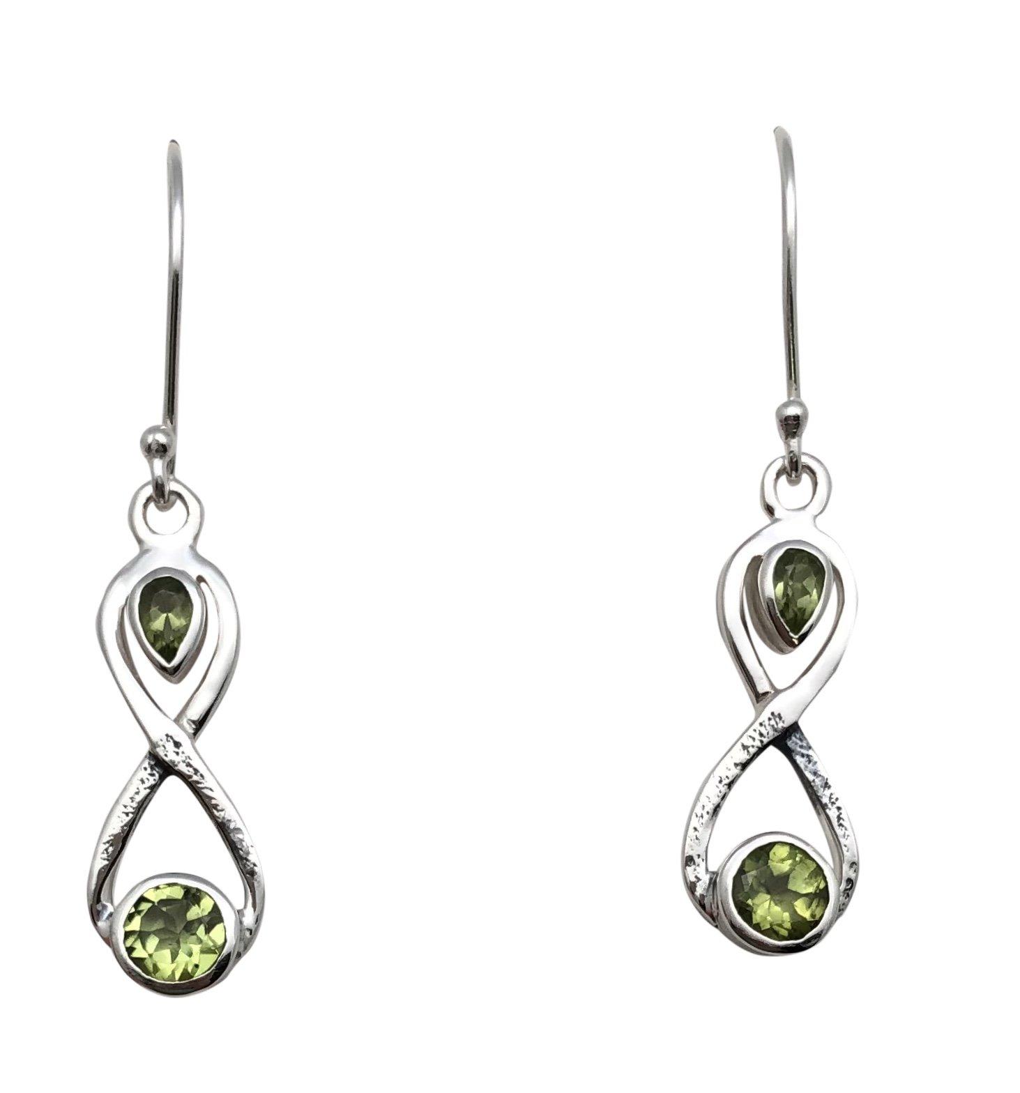 Ear > Peridot Oval & Tear Shape Dangle Earring