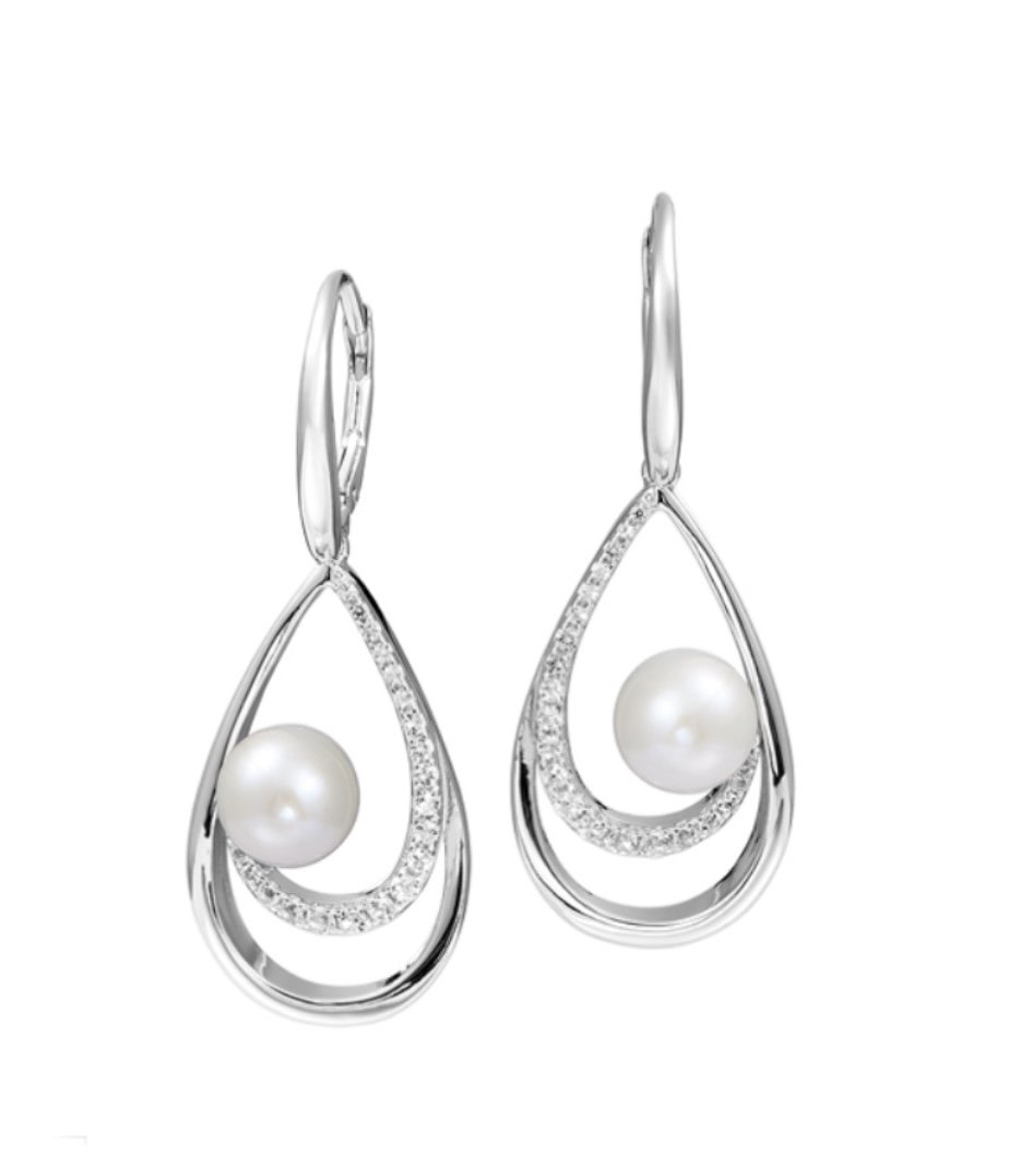 Pearl White with CZ Stone Wave Dangle Earring