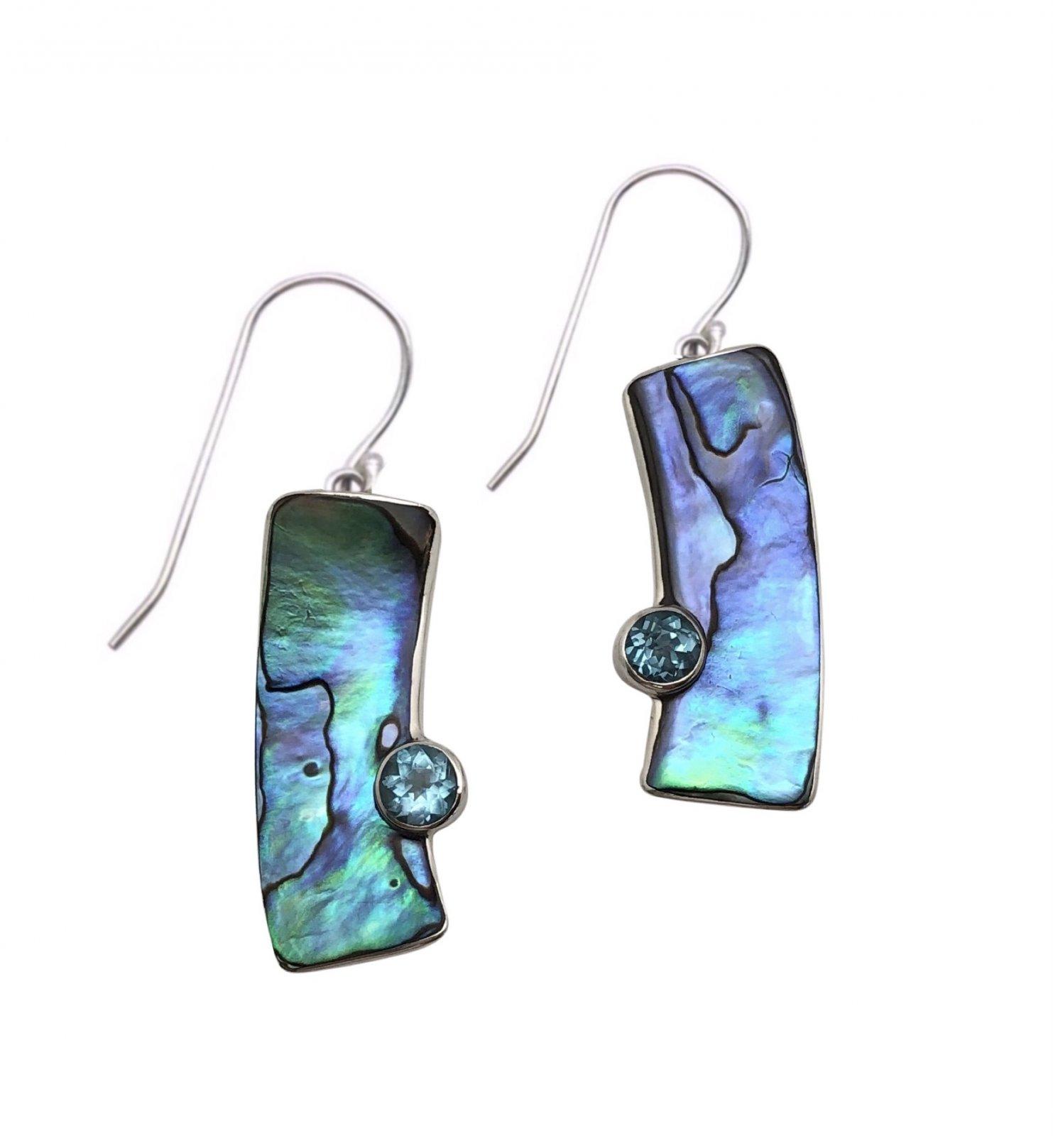 Ear > Blue Topaz Round cut stone Bamboo Shape Paua Abalone Shell Dangle Earring