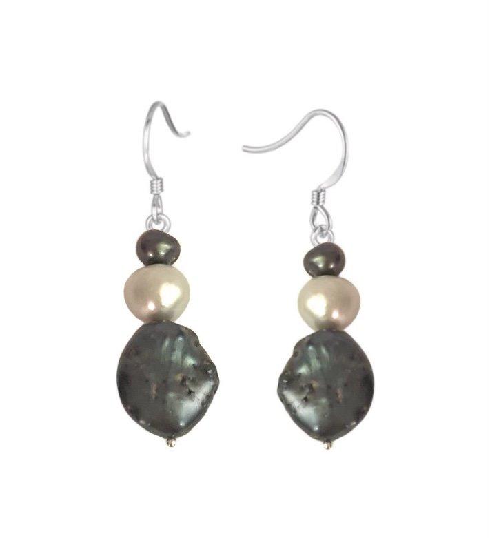 Pearl Black & Silver tone Colors Dangle Earring