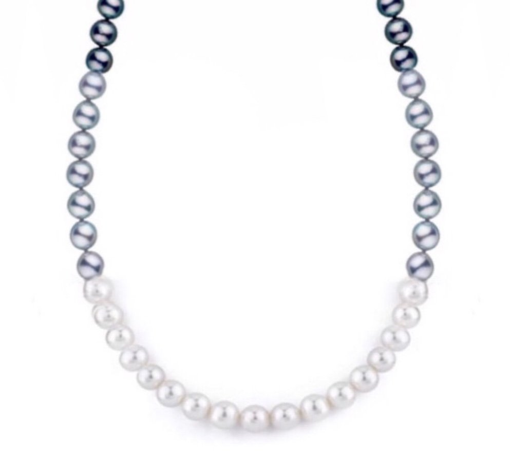 "Pearl Black, White & Silver Necklace (8mm - 18"")"