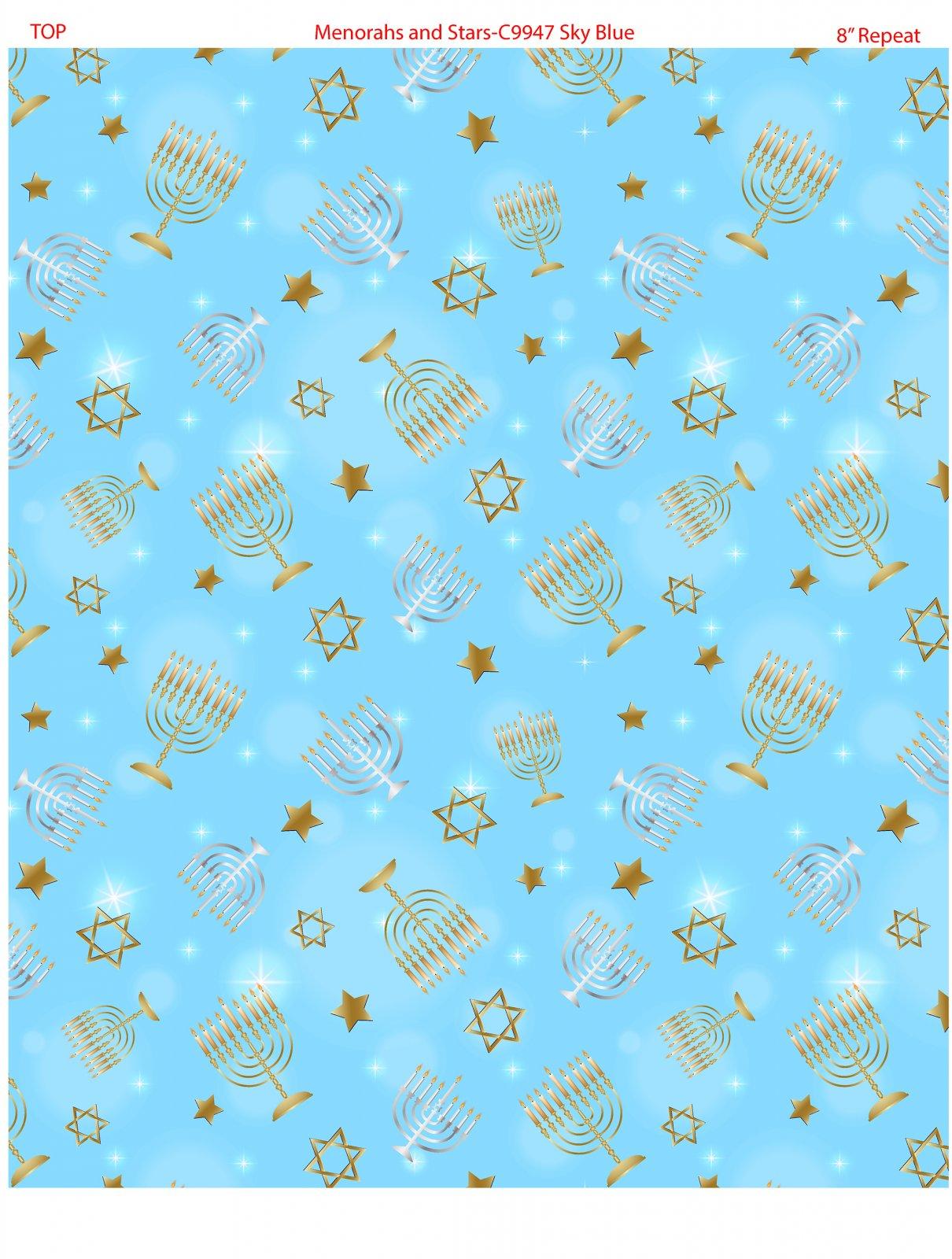 Menorahs and Stars 9947-05 Sky Blue