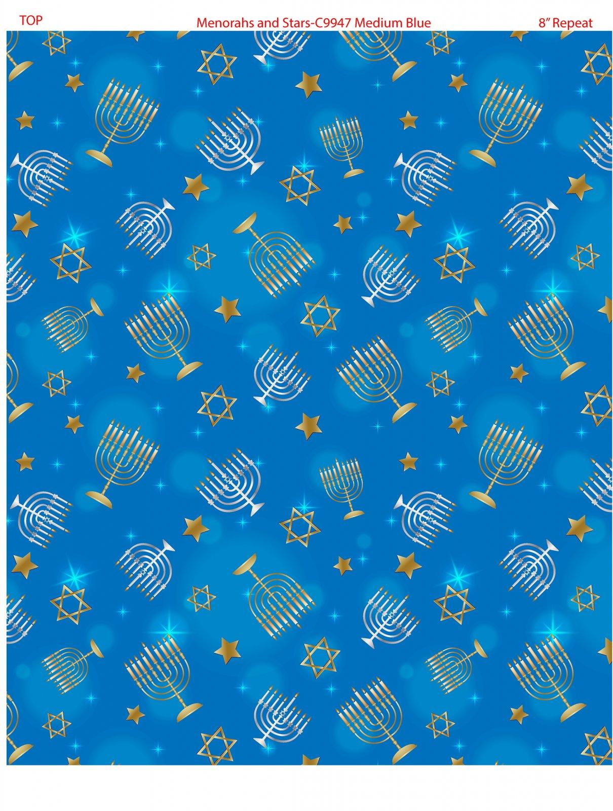 Menorahs and Stars 9947-50 Med Blue
