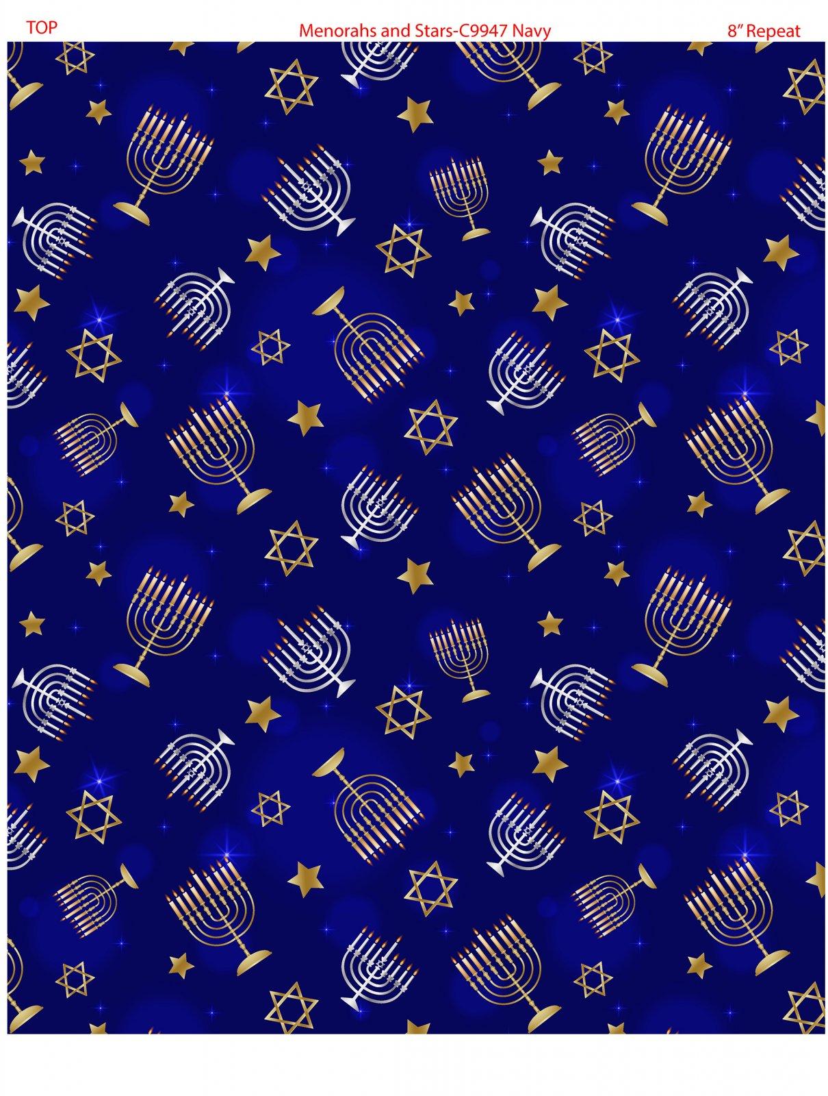 Menorahs and Stars 9947-55 Navy