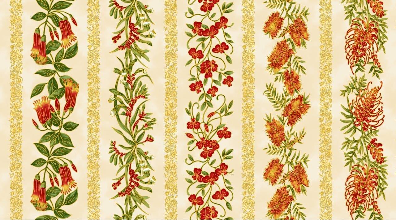Chandler's Cottage - Floral Stripe Red/Ivory