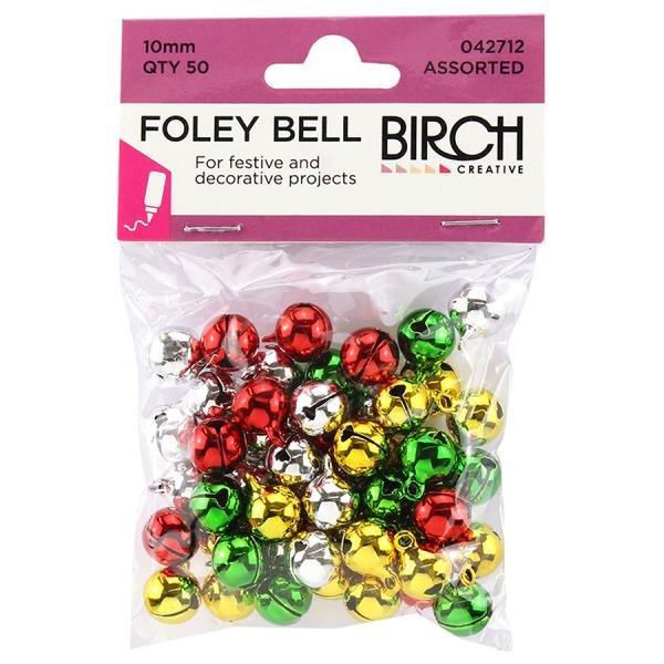 Xmas Foley Bells 10mm Assorted Colours
