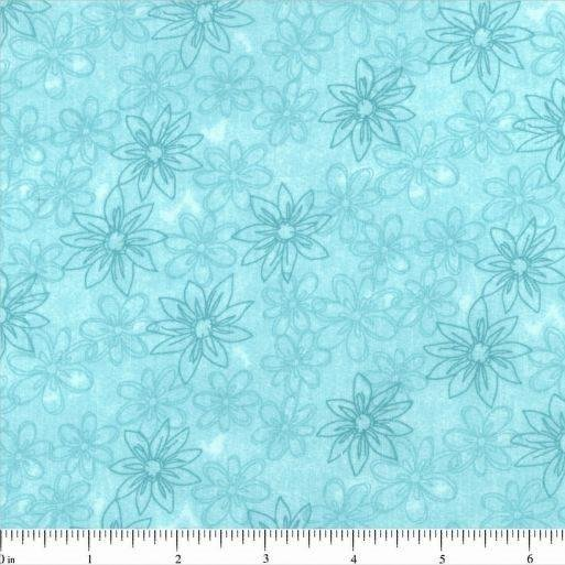 Sketched Floral Backing 108 - Turquoise
