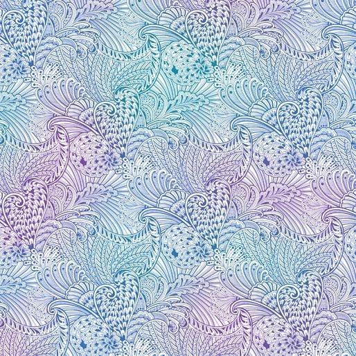 Peacock Flourish Backing - Opulence Mottled White